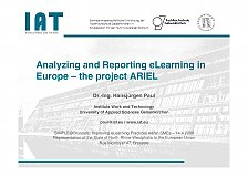 Picture from Presentation Analyzing and Reporting eLearning in Europe - the project ARIEL