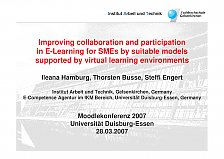 SMEs : Improving Practices in E-Learning for SMEs by suitable models supported by virtual learning enviroments